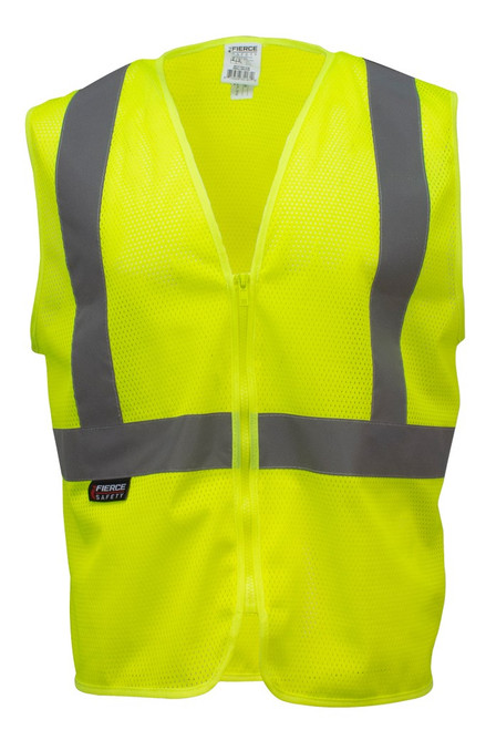 Fierce Safety Class 2 Economy Meshed Vest with Zipper Closure