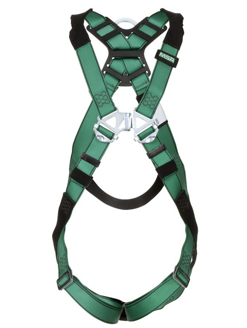 MSA V-FORM Harness, Back & Chest D-Rings, Qwik-Fit Leg Straps Quick Connect Chest Buckle