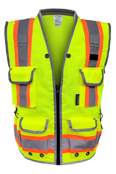 Fierce Safety  Premium Class 2 Green Heavy Duty Vest, Tablet Pockets and Neck Padding with Reflective Trim