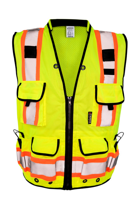 Fierce Safety Premium Class 2 Green Heavy Duty Vest, Tablet Pockets and Neck Padding with Black Trim