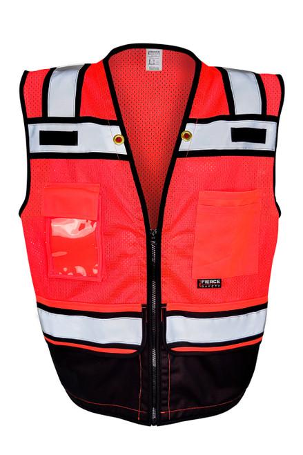 Fierce Safety Surveyors Class 2 Red Meshed Two Tone Black Bottom Surveyor Vest