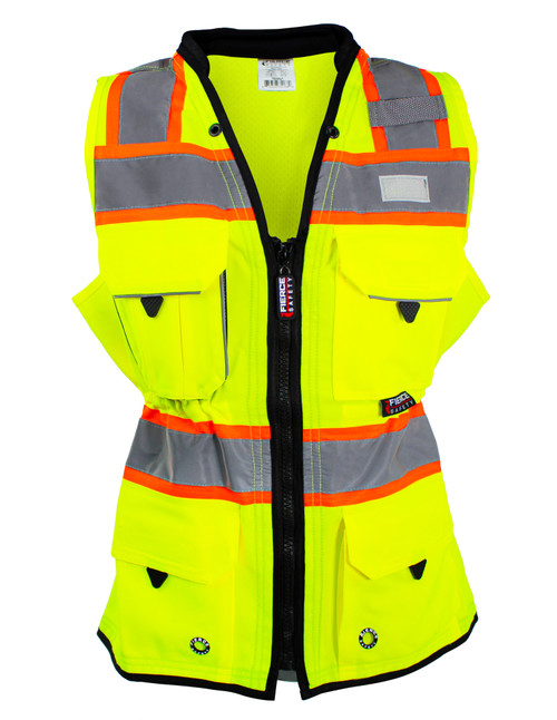 Woman's Surveyors Class 2 Green Safety Vest with Tablet Pockets and Neck Padding
