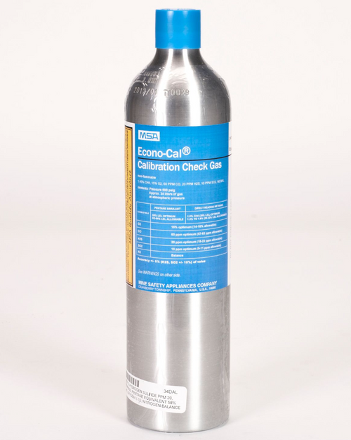 MSA 10098855 Calibration Cylinder 34 L, (CH4)-1.45%, (O2)-15%, (CO) 60 PPM, (H2S)-20 PPM , (SO2)-10 PPM
