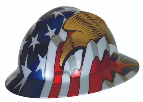 MSA 10071159 Full Brim Hard Hat Patriot V-Gard with Eagles