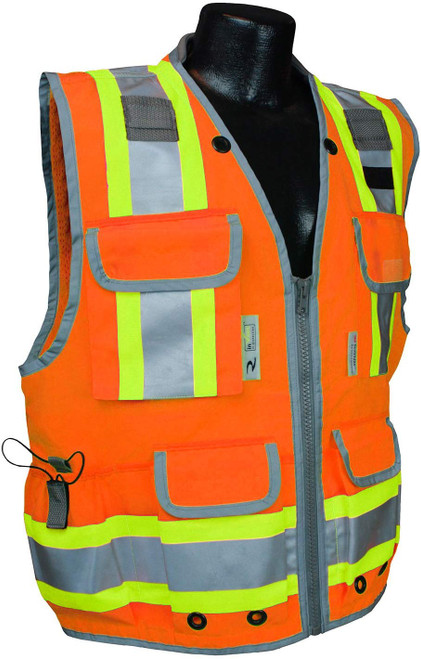 Radians SV55-2ZOD Class 2 Woven Two Tone Orange Engineer's Safety Vest