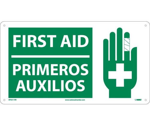"""NMC SPSA119R Safety Sign """"SAFETY FIRST AID KIT INSIDE"""" Plastic"""
