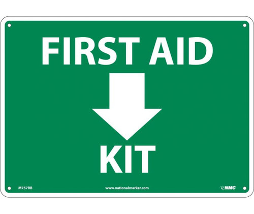 "NMC M757RB Safety Sign - ""FIRST AID KIT"" with Graphic Rigid Plastic"