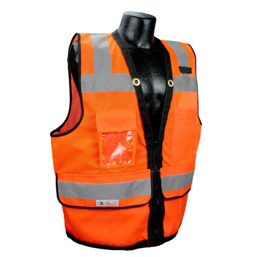 Radians SV59Z-2ZOD Class 2 Orange Surveyors Safety Vest with Zipper