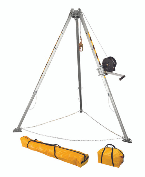 FallTech 7507 Confined Space Tripod Kit Adjustable to 55'' to 91'' with 60' Winch