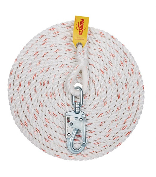 Protecta 1299997 Rope Lifeline with Snap Hook 50'