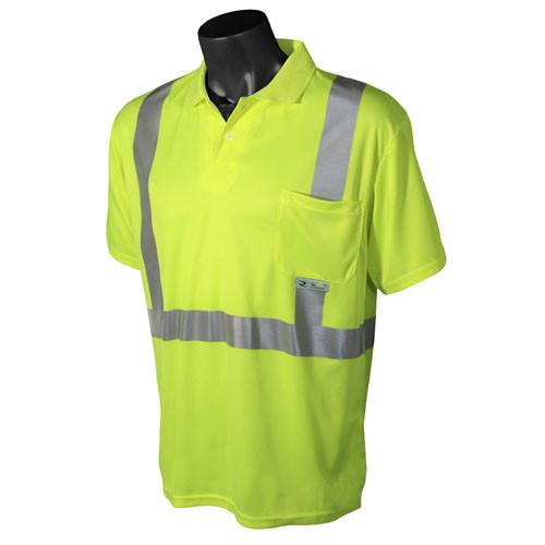 Radians ST12-2PGS Class 2 Lime Hi-Viz Safety Short Sleeve Polo