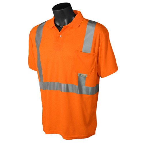 Radians ST12-2POS Class 2 Orange Hi-Viz Safety Short Sleeve Polo