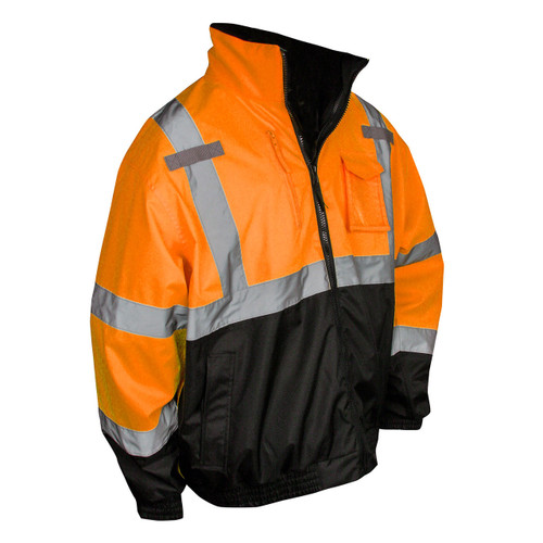 Radians SJ210B-3ZOS Deluxe Hi-Viz Orange Class 3 Bomber Safety Jacket