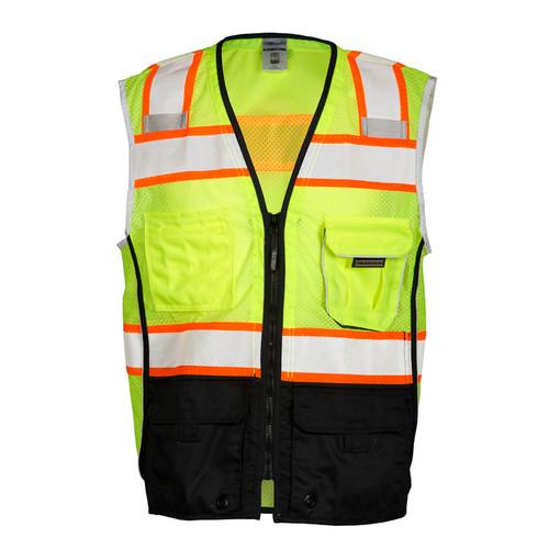 ML Kishigo 1515 Black Bottom Lime Safety Vest Style Class 2