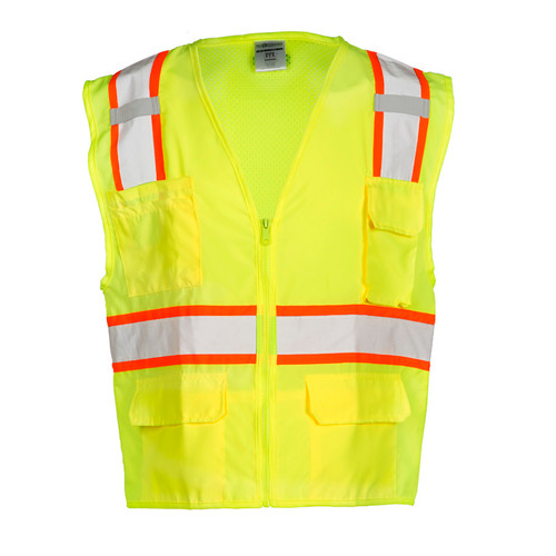 ML Kishigo 1163 Solid Front with Mesh Back Lime Safety Vest Class 2
