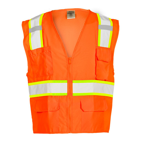 ML Kishigo 1164 Solid Front with Mesh Back Orange Safety Vest Class 2