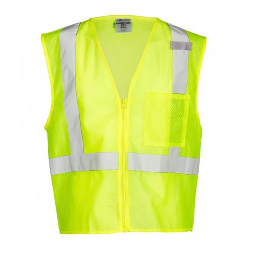 ML Kishigo 1089 Class 2 Lime Single Pocket Zipper Mesh Vest