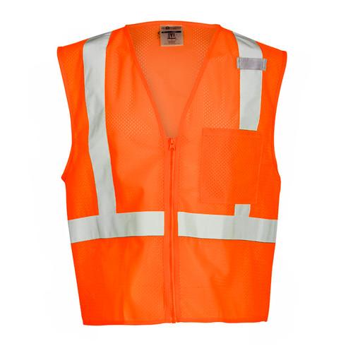 ML Kishigo 1090 Class 2 Orange Single Pocket Zipper Mesh Vest