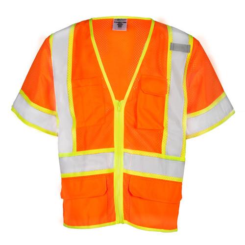ML Kishigo 1243 Class 3 Orange 6 Pocket Contrast Mesh Vest