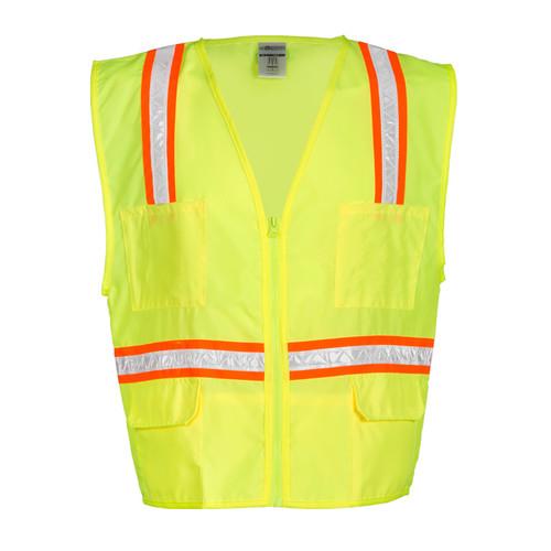 ML Kishigo 1092 Lime Multi-pocket Surveyors Vest