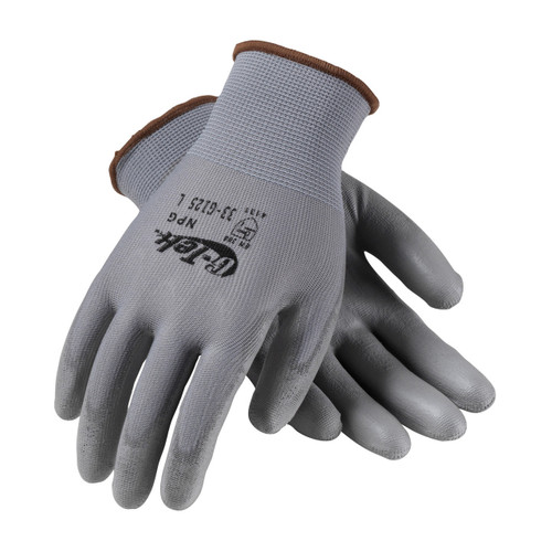 G-Tek 33-G125 Gray Seamless Gloves with Polyurethane Grip (12/Case)