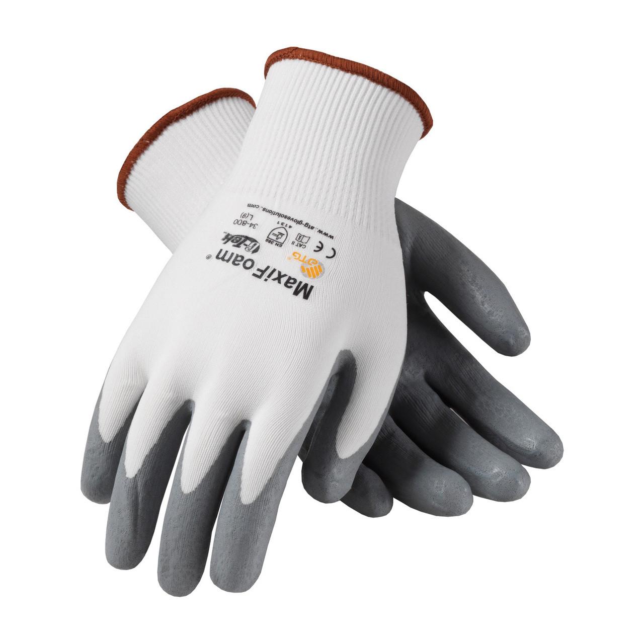 MaxiFoam 34-800 White Glove with Nitrile Coated Foam Grip (Pair)