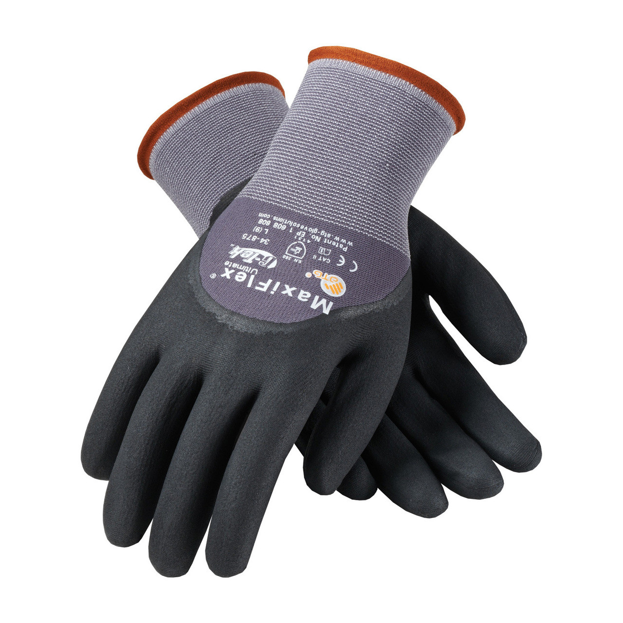 MaxiFlex 34-875 Gloves Micro-Foam Grip on Palm Fingers Knuckles (Pair)
