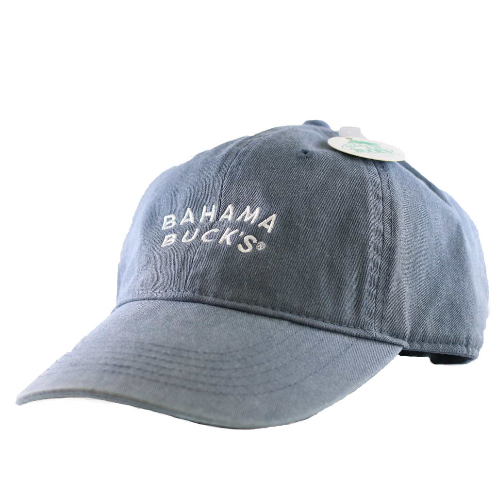 "A denim blue hat with ""Bahama Buck's"" stitched on it in white"