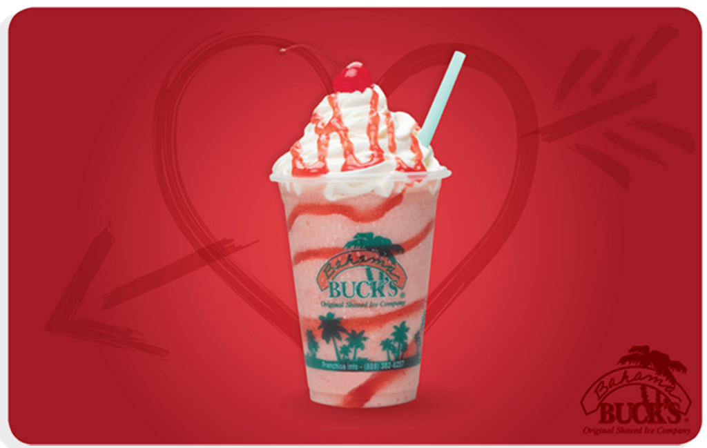 A gift card with a Love-a-Lada Smoothie and a Heart and arrow in the background