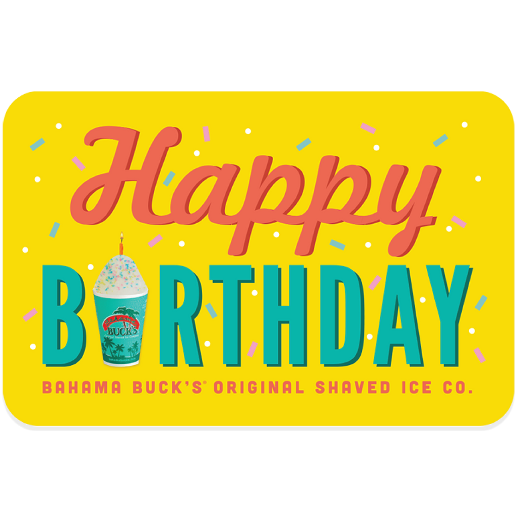 """A gift card that says """"Happy Birthday"""" and the """"i"""" is a Sno"""