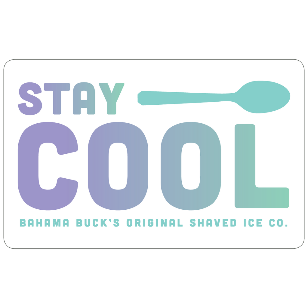 """A purple and teal ombre gift card that says """"Stay Cool"""" with a Cool Spoon"""