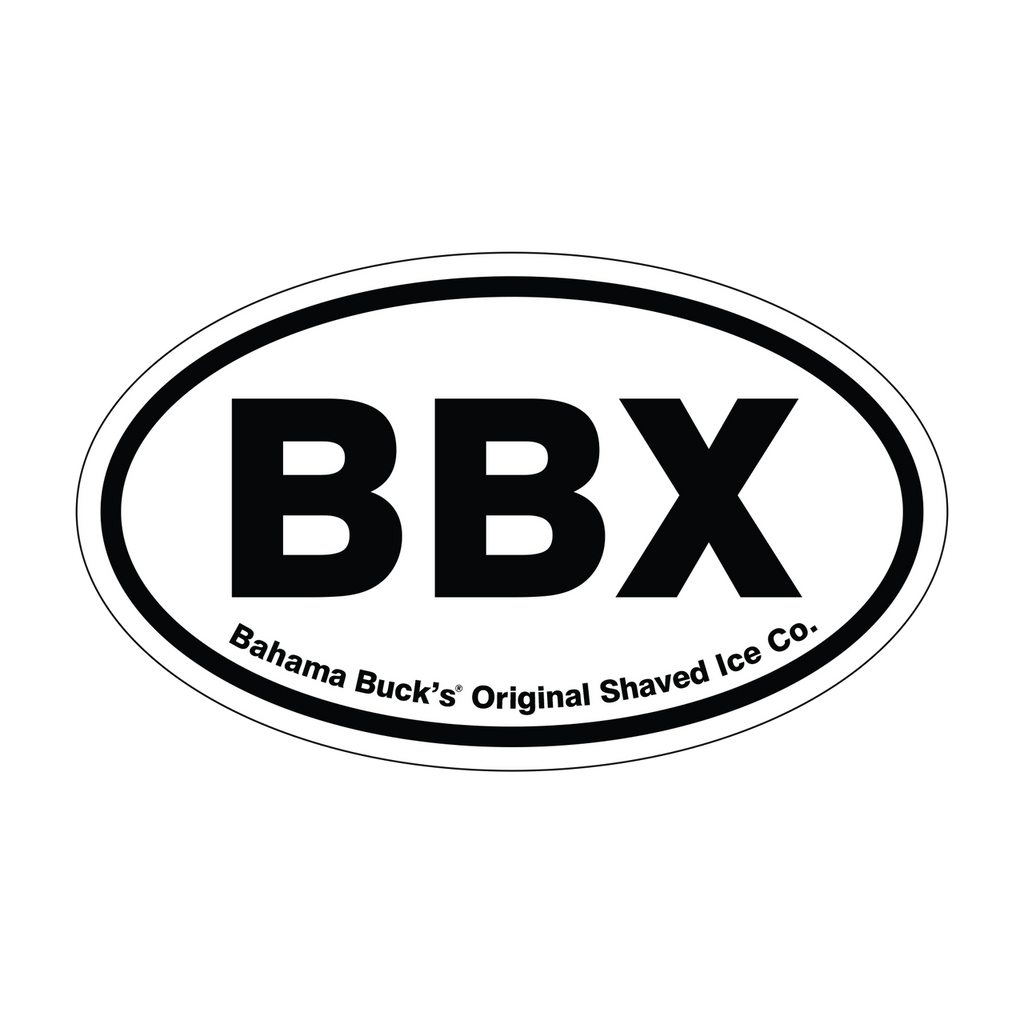 "An oval sticker that says ""BBX"""