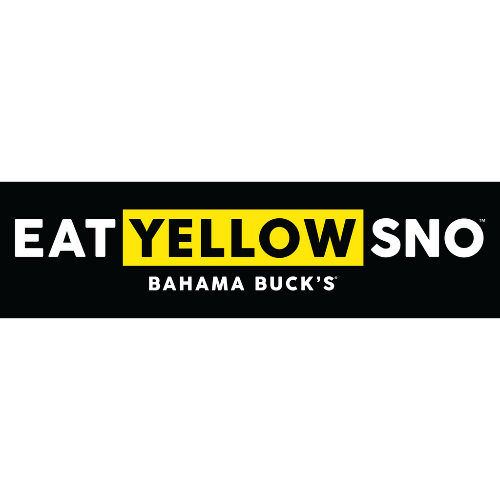 """A long rectangle black sticker that says """"Eat Yellow Sno"""""""