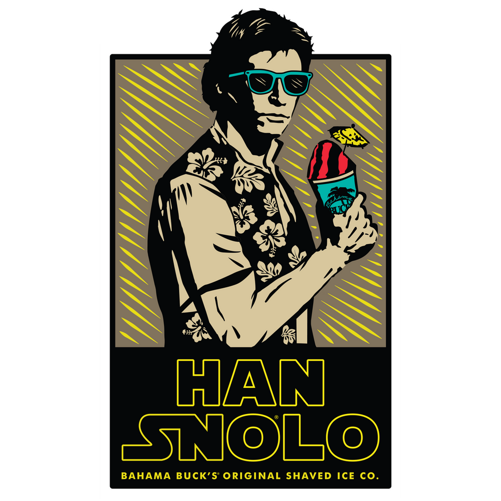 """A sticker with Han Solo holding a Sno that says """"Han Snolo Bahama Buck's Original Shaved Ice Co."""""""