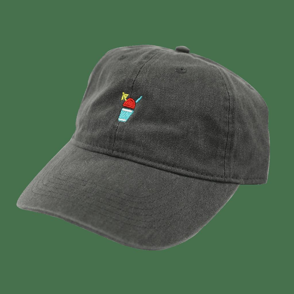 A dark gray baseball cap with a red Sno icon and a yellow umbrella