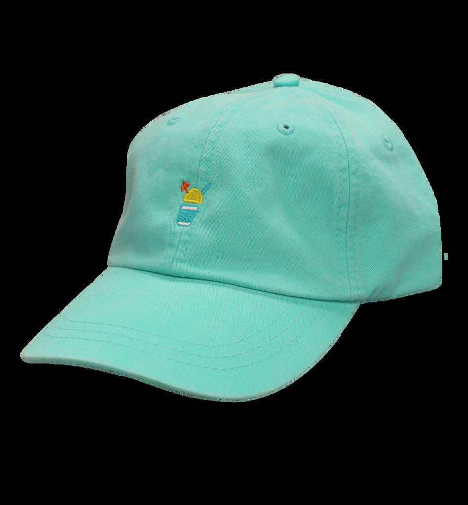 light teal baseball cap with a yellow Sno and an orange umbrella