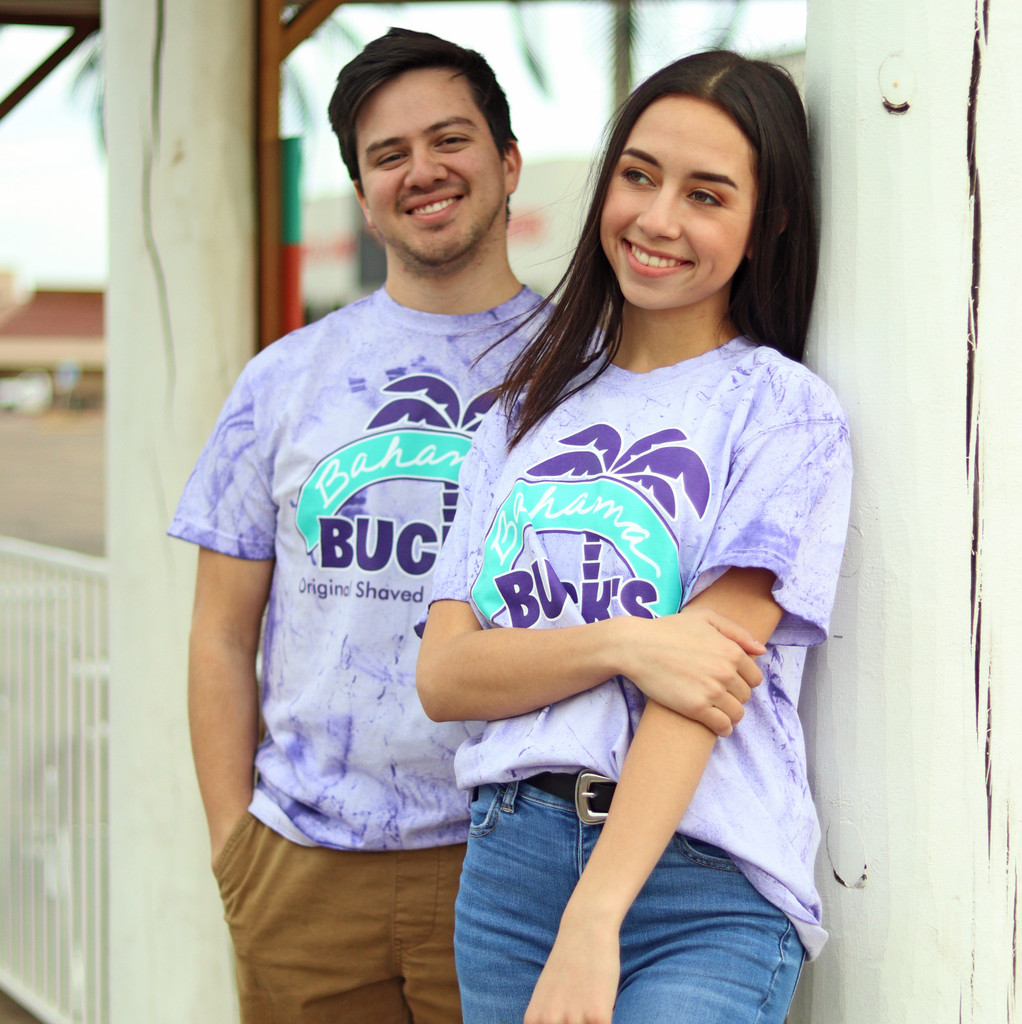 Couple in Amethyst Color Blast Primary Logo Tee
