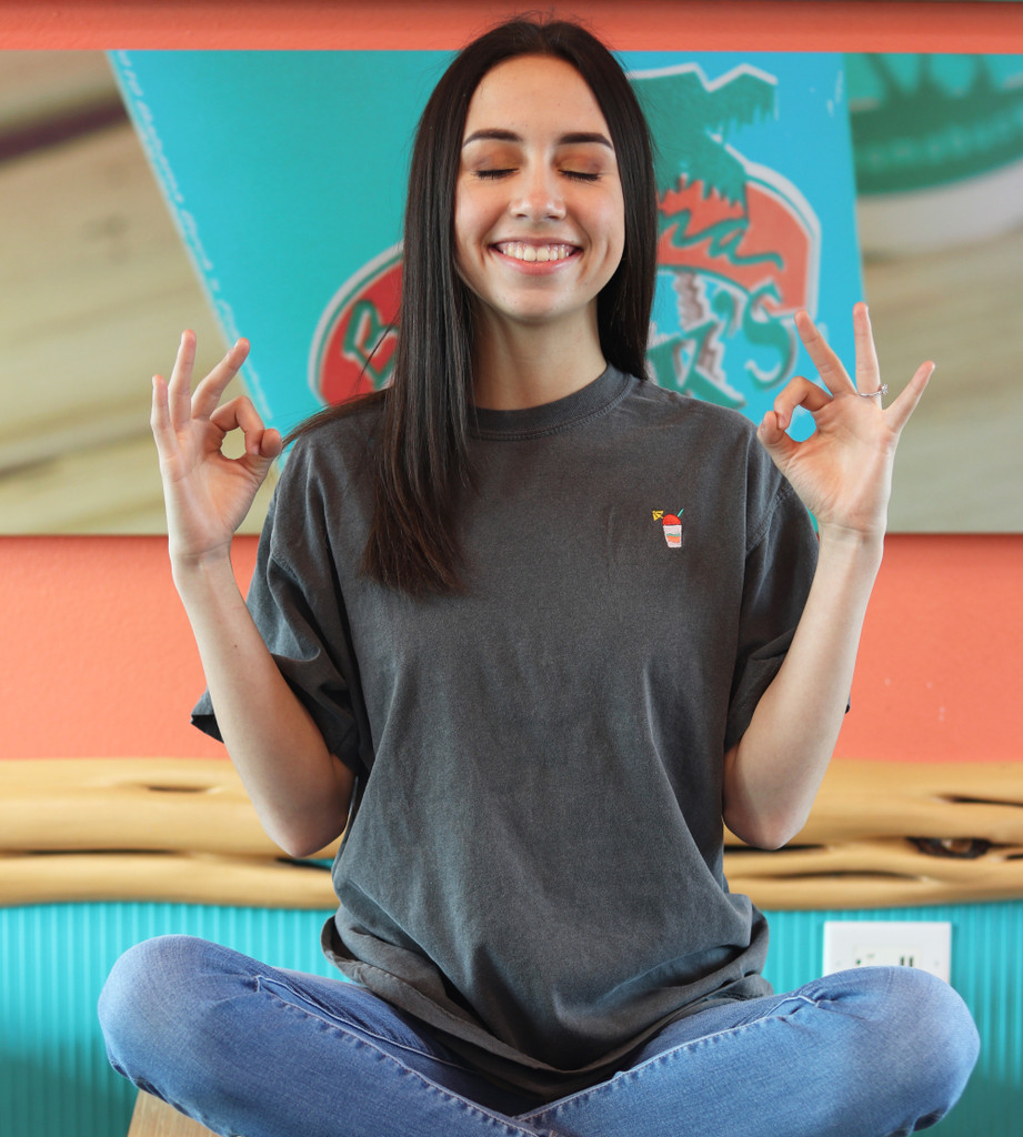 Girl in Pepper Comfort Colors Snolo Tee