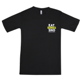 "The front a black short sleeved tee that says ""Eat Yellow Sno"" on the pocket area"