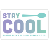 "A purple and teal ombre gift card that says ""Stay Cool"" with a Cool Spoon"
