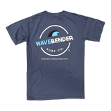 "The back of the wavebender tee with a wave and the words ""Wavebender Surf Co."""