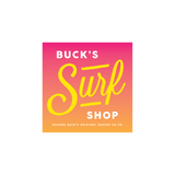 "A pink and coral ombre square sticker that says ""Buck's Surf Shop"""