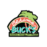 A die-cut sticker with the colorful Bahama Buck's spray paint logo