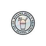 A holographic silver sticker with a Snologo in the middle and Bahama Buck's original Shaved Ice Co written around the edge