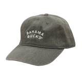 A dark gray baseball cap with white text that says Bahama Buck's