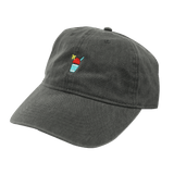 A dark gray baseball cap with a red Sno icon and a yellow umbrella