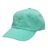 light teal baseball cap with a yellow Sno and an orange umbrella