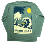 The back of the Light Green Comfort Colors long sleeve tee with a rectangle outline of two navy and cream palm trees, a yellow surfer in a wave,  and a yellow sun in the upper righthand corner. Under the wave, it says Bahama Buck's Original Shaved Ice Co.