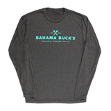 A heather gray athletic long sleeve tee with light teal writing that says Est. 1990 Bahama Buck's Original Shaved Ice Co.