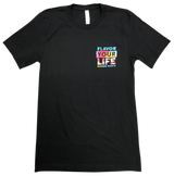 Front of the Black Flavor Your Life tie-Due Simulated tee.